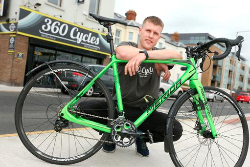 Marius Judickas pictured at the 360 Cycles shop in Clontarf where he prevented the attempted tobbery of his bike by two raiders. Picture; Gerry Mooney