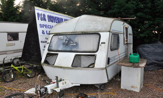 Undated handout photo issued by Lincolnshire Police of a caravan which men were forced to live in by the Rooneys, as members of the traveller family have been jailed for running a modern slavery ring which kept one of its captives in