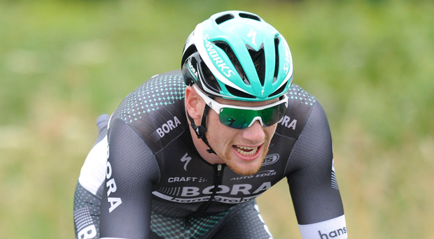 Sam Bennett of Bora-Hansgrohe, claimed stage victory and the yellow jersey on the second stage of the Czech Cycling Tour yesterday. Photo: Stephen McMahon/Sportsfile