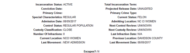 Molly Martens' stats. Pic: North Carolina Department of Public Safety