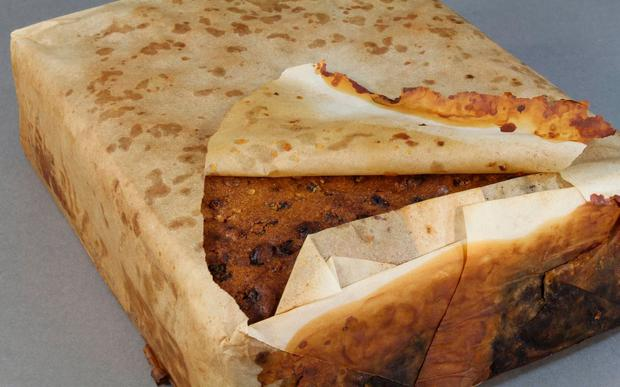 The fruitcake found by the conservation team
