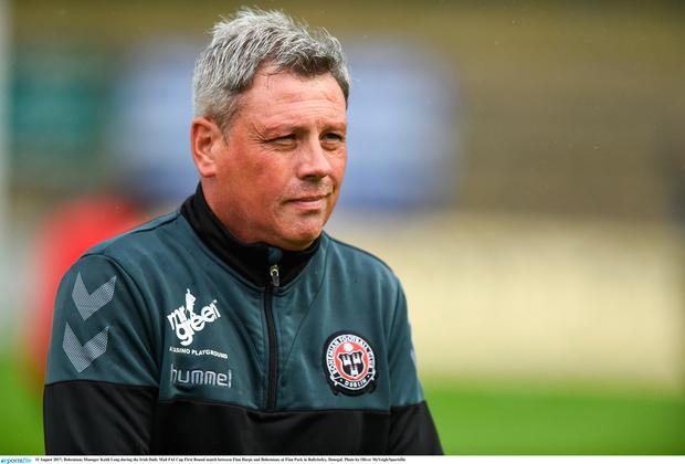 Bohemians Manager Keith Long during the Irish Daily Mail FAI Cup First Round match between Finn Harps and Bohemians at Finn Park in Ballybofey, Donegal. Photo by Oliver McVeigh/Sportsfile