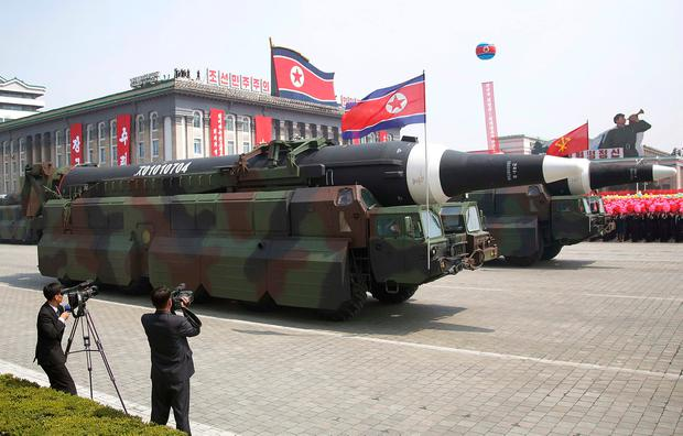 The North Korean Hwasong 12 is paraded across Kim Il Sung Square during a military parade in Pyongyang, North Korea earlier this year Photo: AP