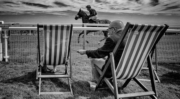 A spectator relaxes in traditional seaside fashion as a runner makes its way to the start at Brighton racecourse yesterday Photo: Getty