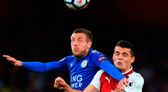 Jamie Vardy and Granit Xhaka battle it out at the Emirates Stadium. Photo: Michael Regan/Getty Images