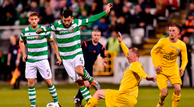 David Webster of Shamrock Rovers in action against Philip Duffy of Glenville. Photo: Matt Browne/Sportsfile