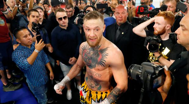 Conor McGregor talks with reporters following a workout at the UFC Performance Center in Las Vegas, Nevada, U.S Photo: REUTERS/Steve Marcus