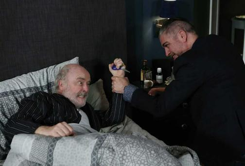 Trigger attacks Robbie with a pair of scissors on Fair City tonight