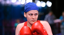 20 June 2015; Michaela Walsh, Ireland, before her Women's Boxing Bantam 54kg Round of 16 bout with Elena Saveleva, Russia. 2015 European Games, Crystal Hall, Baku, Azerbaijan. Picture credit: Stephen McCarthy / SPORTSFILE