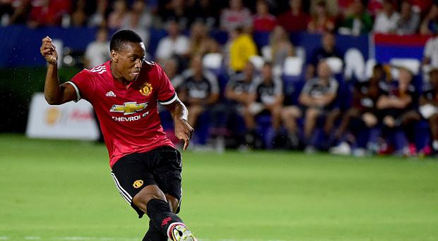 CARSON, CA - JULY 15: Anthony Martial #11 of Manchester United scores to take a 5-0 lead over the Los Angeles Galaxy during the second half at StubHub Center on July 15, 2017 in Carson, California. (Photo by Harry How/Getty Images)