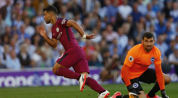 BRIGHTON, ENGLAND - AUGUST 12: Sergio Aguero of Manchester City celebrates scoring his sides first goal during the Premier League match between Brighton and Hove Albion and Manchester City at the Amex Stadium on August 12, 2017 in Brighton, England. (Photo by Dan Istitene/Getty Images)