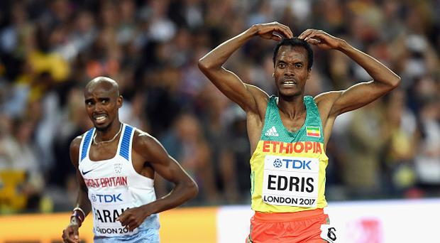 LONDON, ENGLAND - AUGUST 12: Muktar Edris of Ethiopia does the