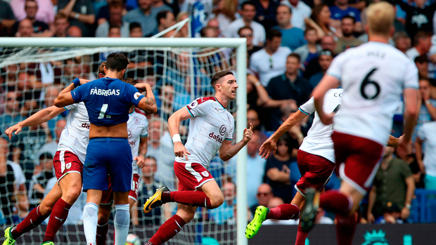 Republic of Ireland defender Stephen Ward celebrates scoring Burnley's second goal in their shock 3-2 win. Photo: PA Wire