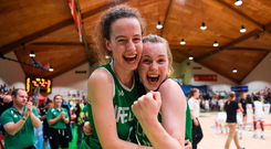 12 August 2017; Rachel Huijsdens of Ireland, left, and team mate Ella McCloskey celebrate following their victory after the FIBA U18 Women's European Basketball Championships match between Ireland and Poland at National Basketball Arena in Tallaght, Dublin. Photo by David Fitzgerald/Sportsfile