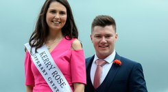 SUPPORTING ROLE: Jackie Healy-Rae Junior with Kerry Rose Breda O'Mahony. Jackie is one of 64 Rose escorts preparing for the Rose of Tralee festival which starts on Wednesday. Picture: Don MacMonagle