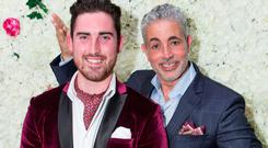 Most Stylish Man winner Robert Kerins, Gort and Baz Ashmawy pictured at the Ladies Day After Party in the g Hotel . Photo Martina Regan