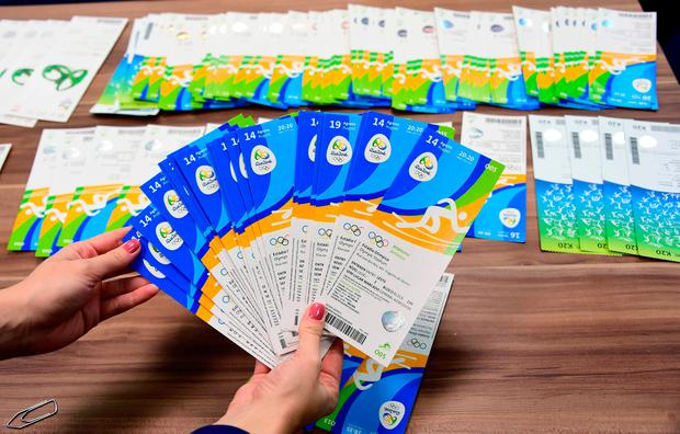 Fiasco: Seized Olympic Games tickets are displayed during a press conference at the police station in Benfica, Rio de Janeiro
