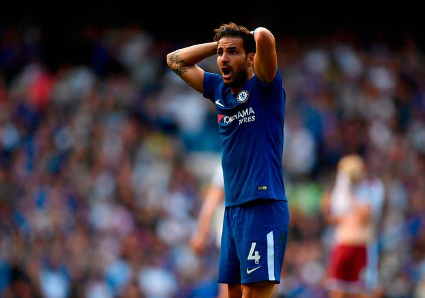 Cesc Fabregas in shock after being sent off Photo: Getty
