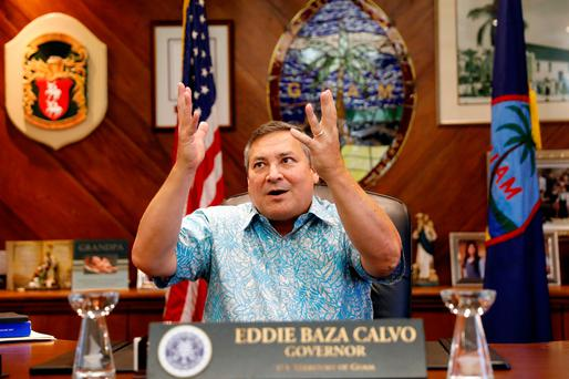 Solace: Guam governor Eddie Baza Calvo has praised Donald Trump's response. Picture: Reuters