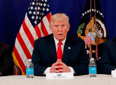 US president Donald Trump speaks at a security briefing at Trump National Golf Club in Bedminster, New Jersey. Picture: AP