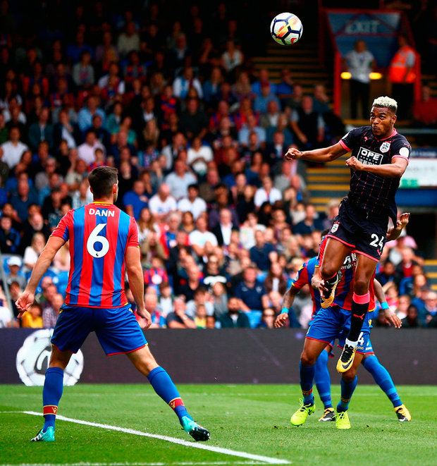 Steve Mounie of Huddersfield Town scores his sides second goal Photo: Getty