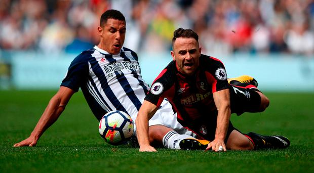 West Bromwich Albion's Jake Livermore (left) and AFC Bournemouth's Marc Pugh battle for the ball Photo: PA