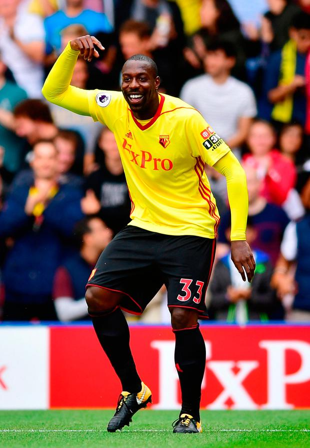Watford's Stefano Okaka celebrates scoring his sides first goal Photo: Getty