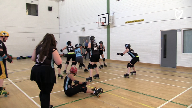 Action from the Dublin Roller Derby