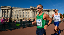 13 August 2017; Robert Heffernan of Ireland passes Buckingham Palace as he competes in the Men's 50km Race Walk final during day ten of the 16th IAAF World Athletics Championships at The Mall in London, England. Photo by Stephen McCarthy/Sportsfile