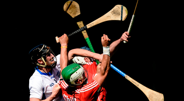 18 June 2017; Shane Kingston, front, and Patrick Horgan of Cork in action against Barry Coughlan of Waterford during the Munster GAA Hurling Senior Championship Semi-Final match between Waterford and Cork at Semple Stadium in Thurles, Co Tipperary. Photo by Piaras Ó Mídheach/Sportsfile