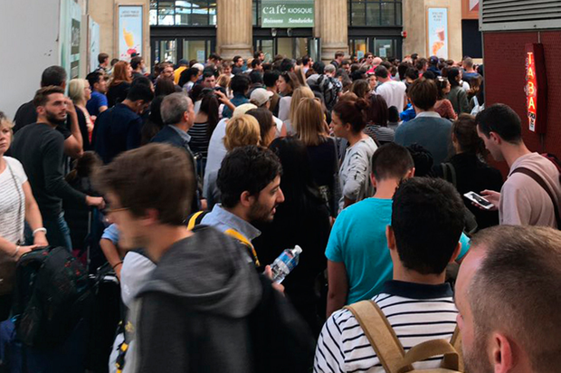 Handout photo of queues at Gare du Nord station in Paris, France, as a Eurostar passenger reportedly sparked a bomb scare at a French station after trying to board the train with a