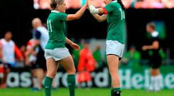 Ireland's Alison Miller and Hannah Tyrell celebrate