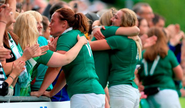 Ireland players with supporters at the end of the 2017 Women's Rugby World Cup, Pool C match at the UCD Bowl