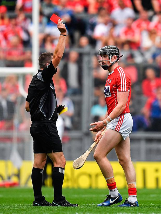 13 August 2017; Damian Cahalane of Cork is shown a red card by referee James Owens during the GAA Hurling All-Ireland Senior Championship Semi-Final match between Cork and Waterford at Croke Park in Dublin. Photo by Brendan Moran/Sportsfile