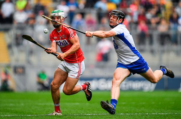 13 August 2017; Shane Kingston of Cork in action against Kevin Moran of Waterford during the GAA Hurling All-Ireland Senior Championship Semi-Final match between Cork and Waterford at Croke Park in Dublin. Photo by Brendan Moran/Sportsfile