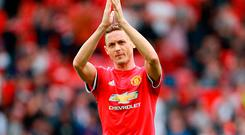 Manchester United's Nemanja Matic applauds the fans