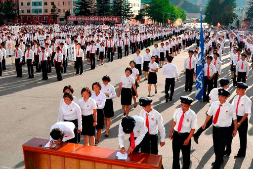 """A photo released by North Korea's official Korean Central News Agency (KCNA) yesterday shows students queueing to join the Korean People's Army after the UN Security Council's """"sanctions resolution"""". Photo: KCNA"""