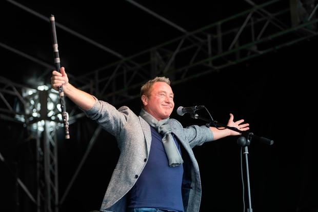 Michael Flatley on stage at the opening of Fleadh Cheoil 2017 in Ennis yesterday. Photo: Eamon Ward