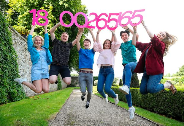 Celebrating the launch of the National Parents Council post primary (NPCpp) freephone Exam 2017 helpline are: Ruby Mc Alister, Louis Maxwell, Harry Gill, Bróna Harte, Robert McCormack and Clara Sinclair. The helpline – 1800 265-165 – opens on Wednesday and will run for six days over the period of the release of the Leaving Cert results and the publication of CAO Round 1 offers. The helpline is sponsored by the Irish Independent, the Department of Education and Skills, and eir. It will be staffed by members of the Institute of Guidance Counsellors and a representative of the grants agency, SUSI. Photo: Maxwells