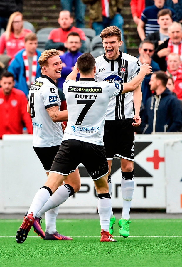 John Mountney, left of Dundalk celebrates after scoring his side's first goal with teammates Sean Gannon and Michael Duffy. Photo by David Maher/Sportsfile