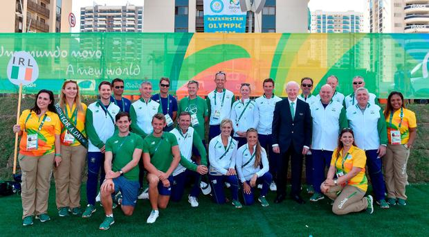 Some of the Irish team with Pat Hickey (front row, standing, third from right) at the Olympics welcoming ceremony in Rio last summer. Photo: Sportsfile