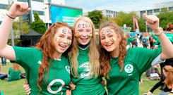 Listowel rugby players Caolainn Healy (18), Rebecca Reilly (16), and Claire Beasley (16). Photo: Caroline Quinn