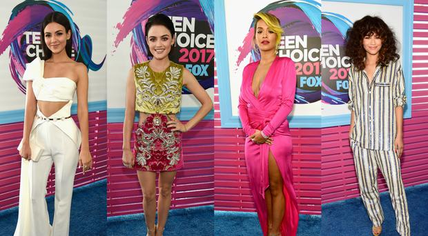 Victoria Justice, Lucy Hale, Rita Ora and Zendaya at the Teen Choice Awards 2017. Images: Getty