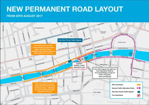 Dublin City Council new permanent road layout