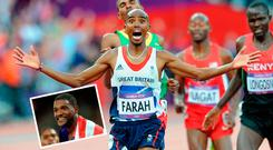 No Farah and (inset) Justin Gatlin received very different receptions