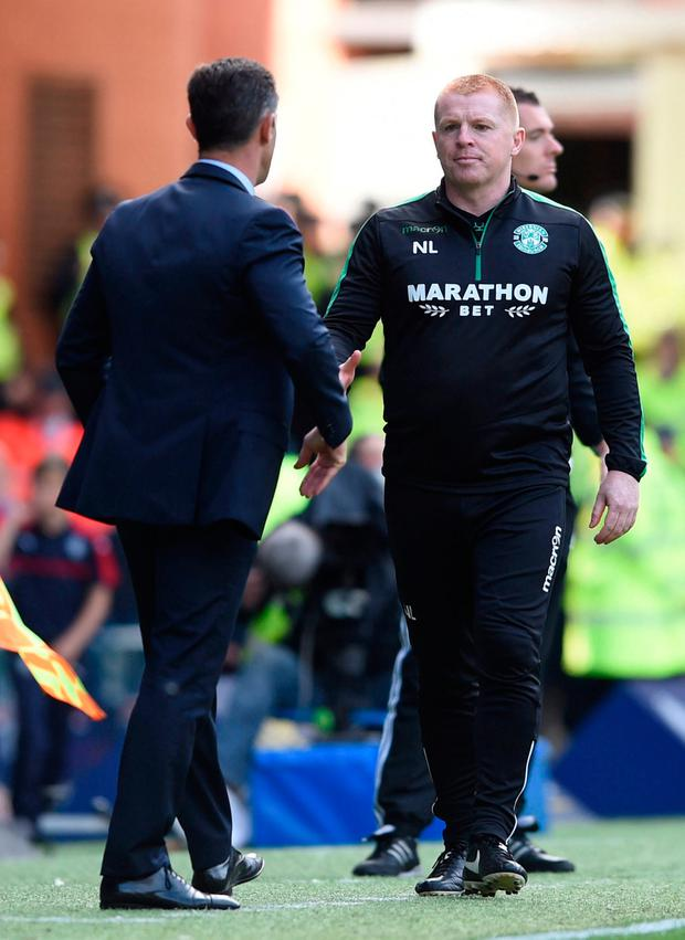 Hibernian manager Neil Lennon goes to shake hands with Rangers Manager Pedro Caixinha
