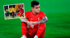 Coutinho and (inset) Liverpool concede late goal against Watford