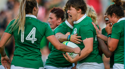 Ciara Griffin celebrates going over the line to score Ireland's second try during the opening group clash against Australia. Photo by Eóin Noonan/Sportsfile