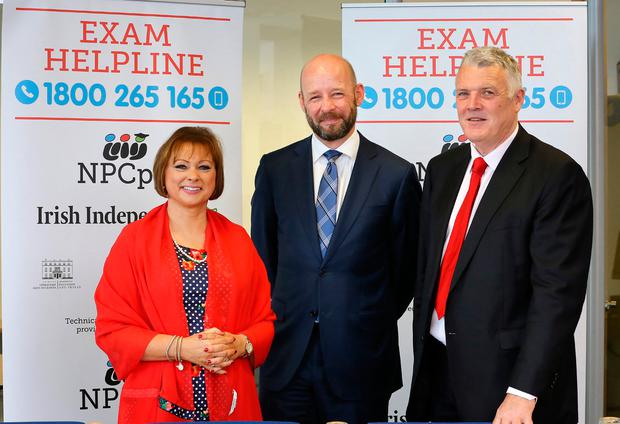 Betty McLaughlin from the Institute of Guidance Counsellors with Professor Philip Nolan, president of Maynooth University, and Ross MacMahon, communications director with the National Parents Council, at the launch of the NPCpp Leaving Certificate Exam Helpline. Photo: Frank McGrath