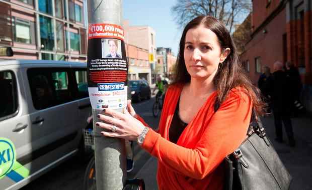 Michelle Deely beside Baggot Street Bridge at Haddington Road, Dublin, during a renewed appeal for information earlier this year. Photo: Gareth Chaney Collins